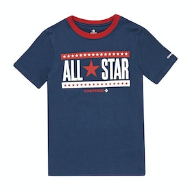 Converse Stars And Stripes Kids Short Sleeve T-Shirt - Navy