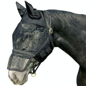 QHP Detachable Nose Flap Fly Mask - Black