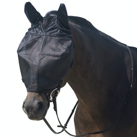 QHP Riding With Ear Protection Fly Mask - Black