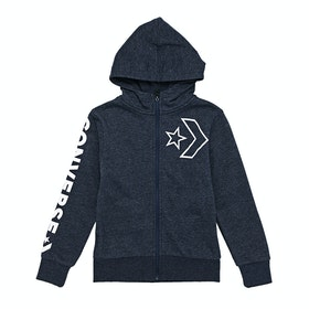Converse Outline Star Chevron Kids Zip Hoody - Obsidian Heather
