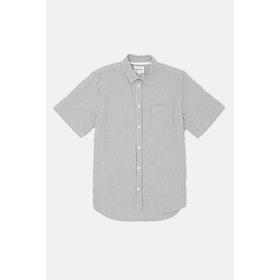 Norse Projects Osvald Seersucker S S Shirt - Navy Stripe