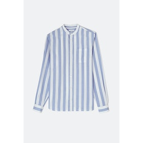 Norse Projects Hans Collarless Oxford L S Shirt - Pale Blue Wide Stripe