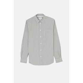 Norse Projects Osvald Seersucker L S Shirt - Navy Stripe