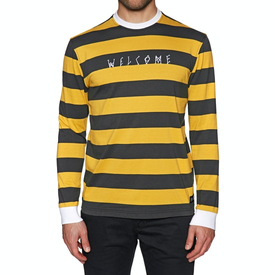 Welcome Big Beautfiul Stripe Yarn-dyed Knit Long Sleeve T-Shirt