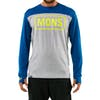 Mons Royale Yotei Powder Hood Long Sleeve Base Layer Top - Grey Marl Oily Blue