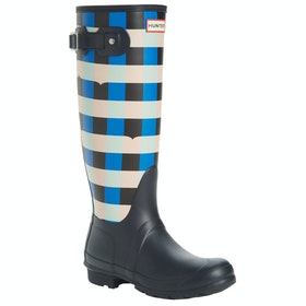 Hunter Original Tall Gingham Ladies Wellies - Navy