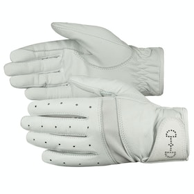 Everyday Riding Glove Femme Horze Leather Mesh - White