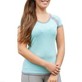 Covalliero Contrast Short Sleeve Ladies Top - Turquoise