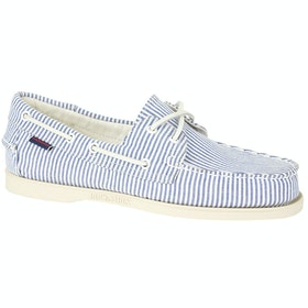 Sebago Dockside Portland Shirt Ladies Slip On Trainers - Light Blue White
