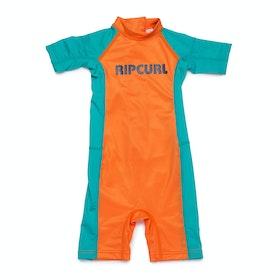 Rip Curl Groms Short Sleeve Sun Suit Boys Rash Vest - Orange