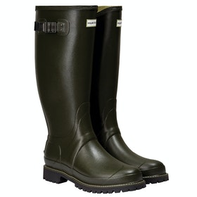 Hunter Mens Balmoral Wide Fit Rubber Boot Wellingtons - Dark Olive