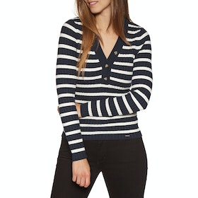 Sudadera Mujer Superdry Lola Buttoned Vee Knit - Eclipse Navy White