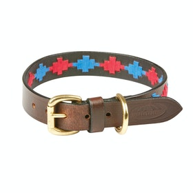 Weatherbeeta Polo Leather Dog Collar - Beaufort Brown Pink Blue