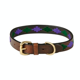 Weatherbeeta Polo Leather Dog Collar - Beaufort Brown Purple Teal