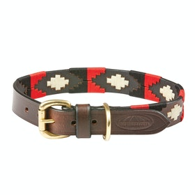 Coleira para Cão Weatherbeeta Polo Leather - Cowdry Brown Black Red White