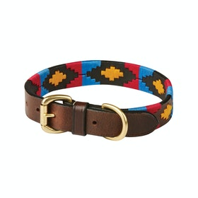 Weatherbeeta Polo Leather Dog Collar - Cowdry Brown Pink Blue Yellow