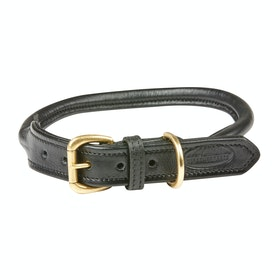 Weatherbeeta Rolled Leather Dog Collar - Black
