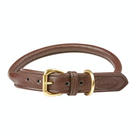 Weatherbeeta Rolled Leather Dog Collar - Brown