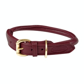 Weatherbeeta Rolled Leather Dog Collar - Maroon