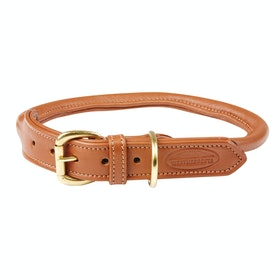 Weatherbeeta Rolled Leather Dog Collar - Tan