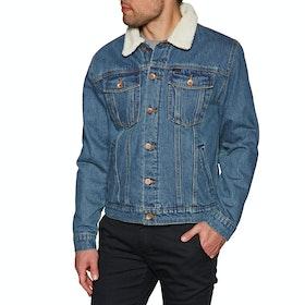 Brixton Cable Sherpa Denim Jacket - Worn Indigo