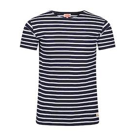 Armor Lux Breton Striped Women's Short Sleeve T-Shirt - Navy Blanc
