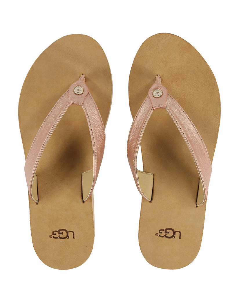 Details about NWT UGG WOMAN'S FLIP FLOP SANDALS SIZE 8 USA TAWNEY & SILVER METALLIC LEATHER