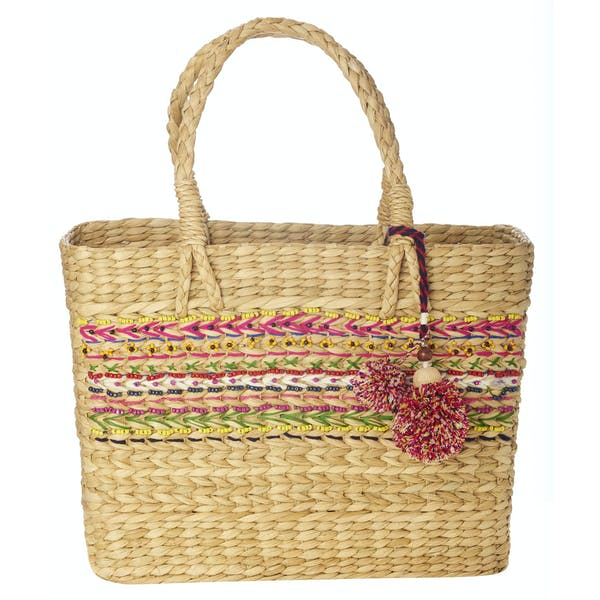 Star Mela Jula Bead Detail Basket Women's Shopper Bag