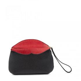 Borsa a Mano Donna Lulu Guinness Peekaboo Lip Clover Clutch - Black Red
