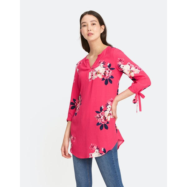 Joules Odelle V Neck Tunic With Tie Sleeves Dress