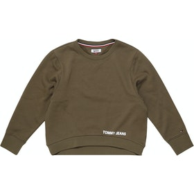 Tommy Jeans Clean Logo Dame Sweater - Military Olive