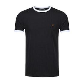 Farah Groves Ringer Slim Fit Men's Short Sleeve T-Shirt - Deep Black