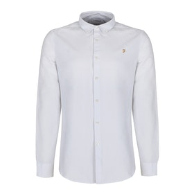 Farah Brewer Slim Fit Oxford Mens シャツ - White