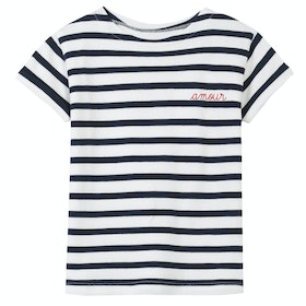 Maison Labiche Sailor Amour Short Sleeve T-Shirt - Off White Dark Blue