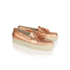 Sapatos de Dormir Senhora GH Bass Weejuns Cup Esther Metal Tassel Loafers - Rose Gold Textured Leather