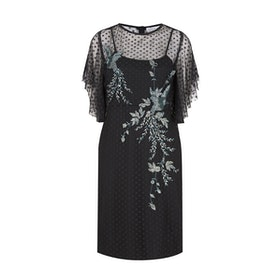 Abito Hope & Ivy Dotty Mesh Angel Sleeve Embellished - Black
