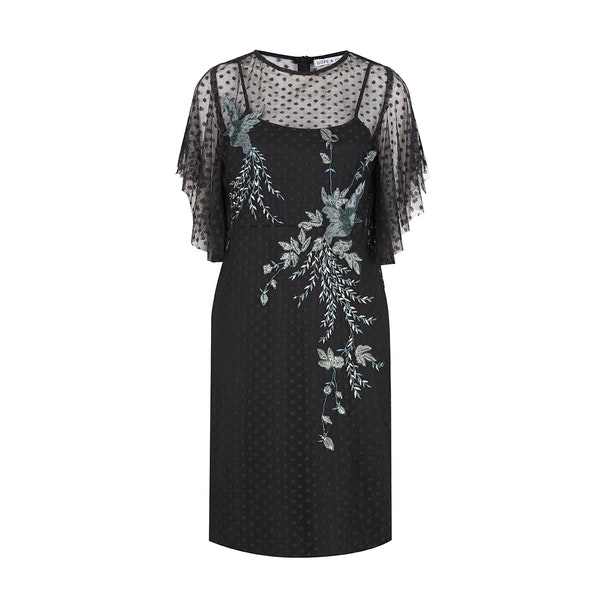 Hope & Ivy Dotty Mesh Angel Sleeve Embellished Dress