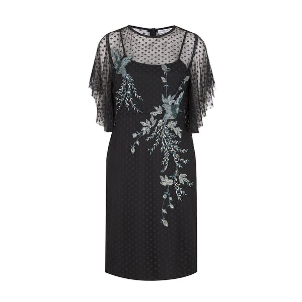 Hope & Ivy Dotty Mesh Angel Sleeve Embellished Kleid
