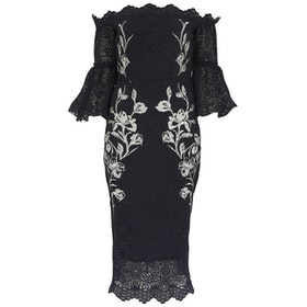 Abito Hope & Ivy Lace Off The Shoulderwith Embroidery and Bell Sleeves - Navy