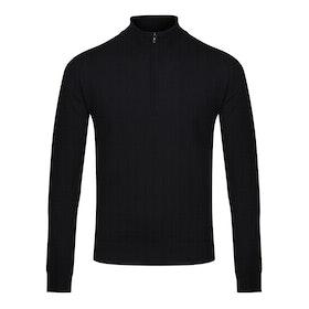 John Smedley Made in England Tapton Half Zip Merino Pullover Herren Pullover - Black