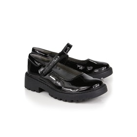 Geox Jr Casey Patent Strap School Girl's Shoes - Black