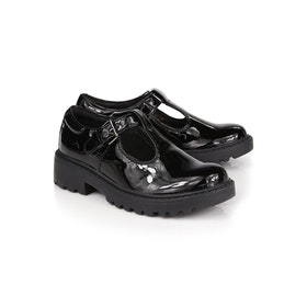 Geox Jr Casey Patent T Girl's Dress Shoes - Black