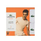 Lacoste 2 Pack Cotton Stretch Slim Fit Crew Neck s Men's Short Sleeve T-Shirt