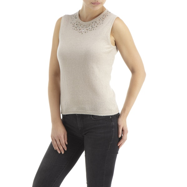 Top Donna CO/AT Made in Scotland by HawicoKaisha Sleeveless Cashmere