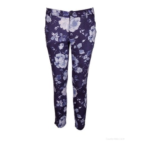 120 Lino Printed Womens Trousers - Blue