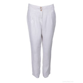 120 Lino Pleat Womens Trousers - Silver