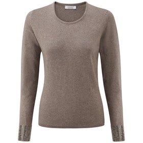 CO/AT Chianti CashmereWith Swarovski Crystals Dame Sweater - Dark Natural Gold Crystals