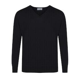 John Smedley Made In England Classic Bobby Merino Wool V Neck Herren Pullover - Black