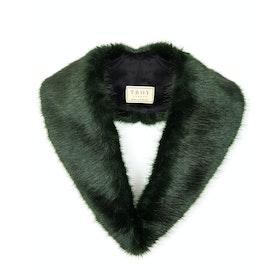 Troy London Faux Fur Lapel Collar Women's Scarf - Forest Green