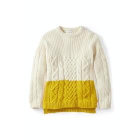 Peregrine Made In England Fisherman Colour Block Women's Sweater - Ecru Yellow
